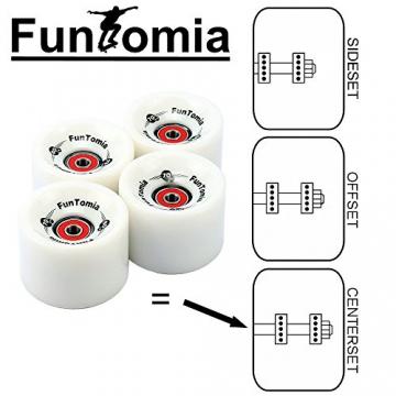 4 Stück FunTomia® Longboard-Rollen (Wheels) 70x51mm 80A inkl. Mach1® Kugellager, Metall Spacer und T-Tool Schraubenschlüssel (Werkzeug) (Weiß, 70mm Durchmesser / 51mm Lauffläche) -