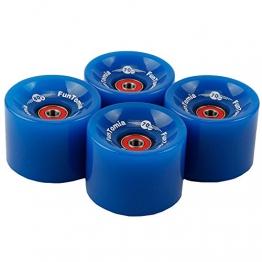 4 Stück FunTomia® Longboard/Skateboard Rollen (Big Wheels) in 70x51mm 86A inkl. Mach1® Kugellager und Metall Spacer (Blau mit 80A Rollenhärte, 70mm Durchmesser / 51mm Laufflächenbreite) -
