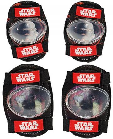 """4 tlg. Set: """" Star Wars - Darth Vader """" - Knieschützer + Ellenbogenschützer - für circa 5 bis 12 Jahre - für Kinder - Gelenkschützer Knieschoner / Protektor - Jungen - Stormtrooper z.B. Fahrrad / Inliner - Inline Skates / Roller - Rollschuhe - Ellenbogenschoner - Protektoren - Krieg der Sterne / Clone - Luke Skywalker - Anakin - Schützerset / Sicherheitsset -"""