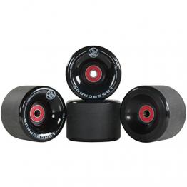 4x Stück Longboard Freestyle Rollen Wheels 70mm 78A + ABEC9 Kugellager + Spacer , Farbe:Schwarz -