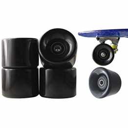 77 SPORT © 1 Set 4x Rollen für Penny-board Long-board Retro Skate-board und Mini Cruiser Board mit Kugellager ABEC-7 Skate Longboard Kugellager Shop Rollerblade Profi (ABEC-7, Schwarz) -