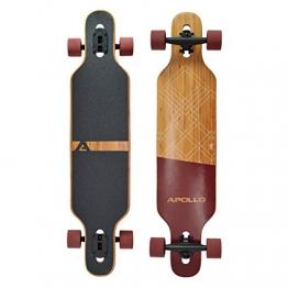 Apollo Longboard Bali Komplettboard mit High Speed ABEC Kugellagern, Drop Through Freeride Skaten Cruiser Board -