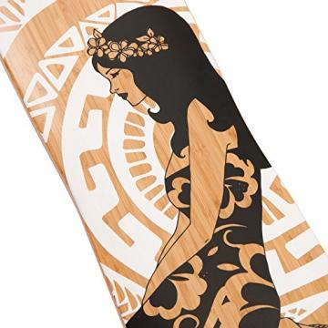 Apollo Longboard Hinano Black & White, Bambus Komplettboard, Twin-Tip Drop-Through Freeride Skaten Cruiser Board -