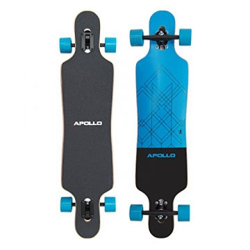 Apollo Longboard Kiribati Komplettboard mit High Speed ABEC Kugellagern, Drop Through Freeride Skaten Cruiser Board -