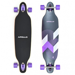Apollo Longboard Makira Komplettboard mit High Speed ABEC Kugellagern, Drop Through Freeride Skaten Cruiser Board -