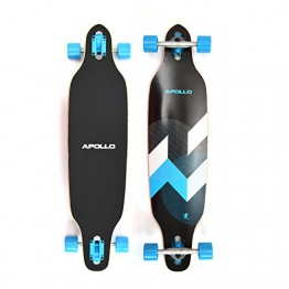 Apollo Longboard Matei Komplettboard mit High Speed ABEC Kugellagern, Drop Through Freeride Skaten Cruiser Board -