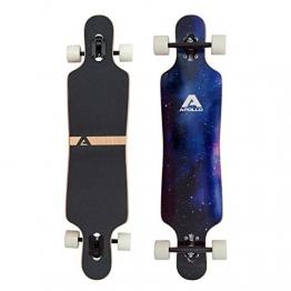 Apollo Longboard Nebula Komplettboard mit High Speed ABEC Kugellagern, Drop Through Freeride Skaten Cruiser Board -