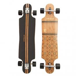 Apollo Longboard Nuku Hiva, Bambus Komplettboard, Twin-Tip Drop-Through Freeride Skaten Cruiser Board -