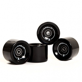 Apollo Longboard Rollen, Wheel Set inkl. Kugellager, 78A - 70mm, Farbe: Solid Black / Schwarz -