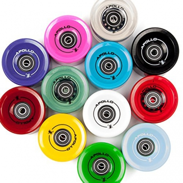 Apollo Longboard Rollen, Wheel Set inkl. Kugellager, 78A - 70mm, Farbe: Solid Red / Rot -