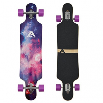 Apollo Longboard Supernova Komplettboard mit High Speed ABEC Kugellagern, Drop Through Freeride Skaten Cruiser Board -
