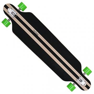 FunTomia® Longboard Skateboard Board Skaten Cruiser Komplettboard mit ABEC-11 High Speed Kugellager (Modell Freerider - Farbe Grün Hawaii+T-Tool) -