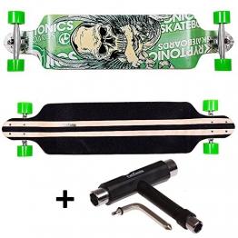 FunTomia® Longboard Skateboard Board Skaten Cruiser Komplettboard mit ABEC-11 High Speed Kugellager T-Tool (Modell Drop Down - Farbe Grün Totenkopf+T-Tool) -