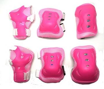 Kinder Inliner Schonerset / Schutzset mit Handschützer, Ellbogenschützer, und Knieschützer - Rosa -