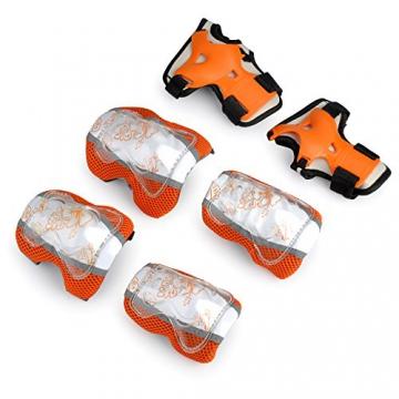 Kinder Rollschuhe Skateboard Rollerskates inliner Sport Protektoren Guards Knieschoner Ellenbogenschützer Handgelenkschoner in orange Größe M -