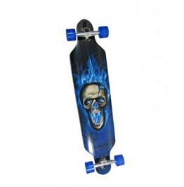 LED Longboard 41 Blauer Totenkopf ABEC 11 Blaue Rollen 8fach Bereift -