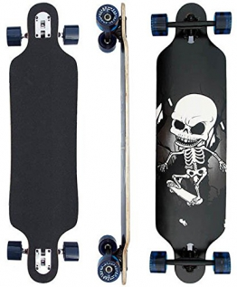 Longboard mit Sklette 39 INCH in schwarz Gothik ABEC-9 Lager Ahornholz 9 Lager Kanada NEU & OVP -