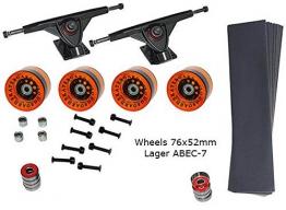 Longboard Montage Set für Longboard Griptape 2 x Achsen 4 Räder 76x53mm Kugellager Schrauben -