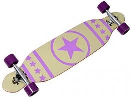 Longboard Racing Board 96 cm lang mit lila Stern weiß ABEC-7 Kugellager -