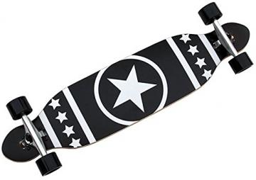 Longboard Racing Board 96 cm lang schwarz mit Stern weiß ABEC-7 Kugellager -