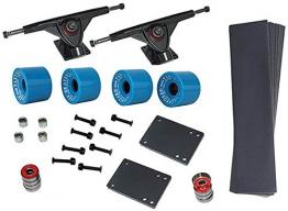 Longboard Set 4 Rollen 76x53 in blau 8 x Kugellager ABEC-7 Schrauben Zubehör NEU -