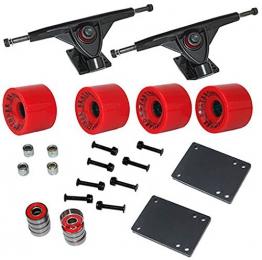 Longboard Set 4 Rollen in rot 76x53 mm 80A 8 x Kugellager ABEC-7 Schrauben zubehör NEU -