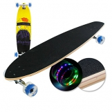 "Longboard Skateboard mit LED Rollen 41"" 104x25x12cm mit ABEC-9 Kugellager Cruiser Board Skaten Race Streetsurfer Komplettboard Holz -"