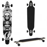 Longboard von [pro.tec] (104 x 23 x 9.5 cm) - ABEC 7-Kugellager - Skateboard / Dropped Through/ Freeride Board / Cruising Board / Retro Board ? Farbe: schwarz-weiss -
