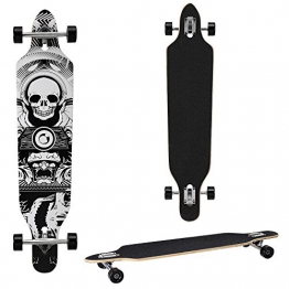 Longboard von [pro.tec] (104 x 23 x 9.5 cm) - ABEC 7-Kugellager - Skateboard / Dropped Through/ Freeride Board / Cruising Board / Retro Board ? Farbe: schwarz-weiss -