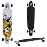 Longboard von [pro.tec] (104 x 23 x 9.5 cm) - ABEC 7-Kugellager - Skateboard / Dropped Through/ Freeride Board / Cruising Board / Retro Board - Farbe: grau - schwarz - gelb -