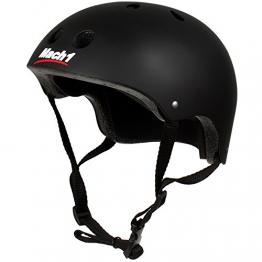 Mach1® Helm Skaterhelm, Fahrradhelm, BMX-Helm, Inliner-Helm für Skater (Schwarz-matt, 51-54cm (S)) -