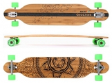 MAXOfit® Deluxe Longboard GeoLines Bambus/Ahorn No.40, Drop Through, 107 cm, 7 Schichten, ABEC11 -