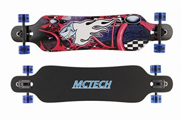 MCTECH 41 Zoll Longboard Retro Skateboard Cruiser Board Funboard Fancy Board Komplettboard Mit ABEC-9 High Speed Kugellager (Feuer & Hai) -