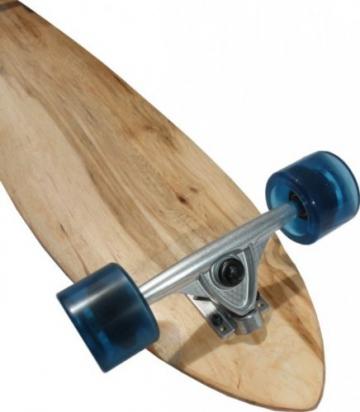 MySkateBrand Longboard Komplettboard Pintail Cruiser Natural Wood / Clear Blue 107 x 22.5 cm -