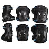 Pellor Outdoor Knieschoner Ellenbogenschutz Handgelenkschoner Rollerblade Skating-Schutzausrüstung Protektorenset Radfahren Sportausrüstung für Kinder & Erwachsene (6-Pack) (Schwarz-Blau, M) -