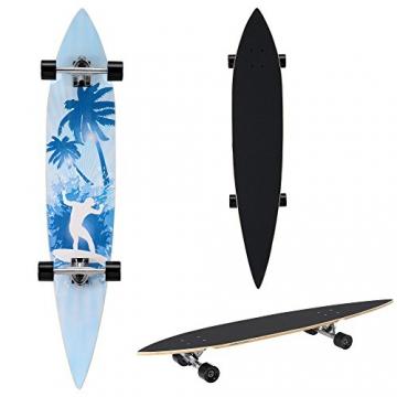 [pro.tec] Longboard (116 x 22 x 12 cm)(ABEC 7 - Kugellager) (hellblau - Palmenmotiv) Skateboard / Surfer board /Retro board / -