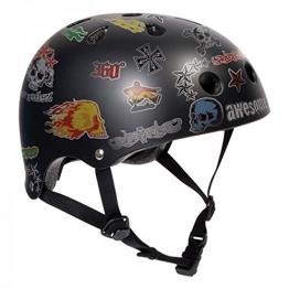 SFR Skateboard / Scooter / Inliner / Rollschuh Schutz Helm - Black Sticker - Bmx, Inliner, Longboard Helm - Schutzausrüstung Skateboard Helm, Grösse:S/M 53-56cm -