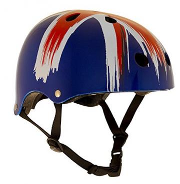 SFR Skateboard / Scooter / Inliner / Rollschuh Schutz Helm - Union Jack - Bmx, Inliner, Longboard Helm - Schutzausrüstung Skateboard Helm, Grösse:S/M 53-56cm -