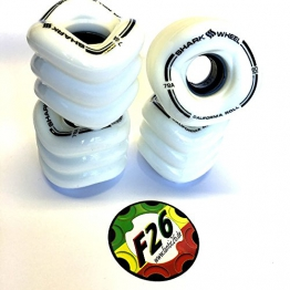 Shark Wheels California Roll Cruiser Rollen 60mm/78A (4er Set) + Fantic26 Sticker (weiß) -