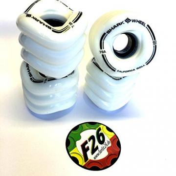 Shark Wheels California Roll Cruiser Rollen 60mm/78A (4er Set) + Fantic26 Sticker (weiß) -