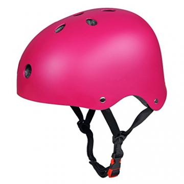 Skateboard Protektoren Set mit Helmet, SymbolLife BMX Helmet Knie Pads Elbow Pads mit Handgelenkschoner für Skate, Fahrrad, Skateboard, Roller Skate und anderen Extreme Sports, Größe L, Rosa -