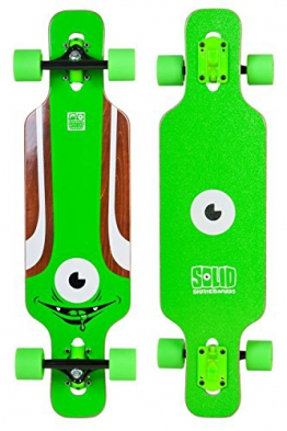 SOLID Eye Kid Kinder Mini Cruiser drop through twin tip Longboard Grün -