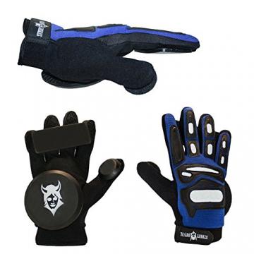 Streetdevil Longboard/Skateboard Slide Glove/Handschuhe in Blau mit je 3 Pucks, Größe XL -