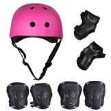 SymbolLife Skateboard / Skate Protektoren Set mit Helmet -- Skate Helmet Knie Pads Elbow Pads mit Handgelenkschoner für Skate, Skateboard, Roller Skate, BMX, Bike und anderen Extreme Sports, M Rose -