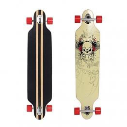 "Yorbay 41"" Skateboard Streetsurfing Longboard Cruiser Board Komplett Fertig Montiert 180kg (Modell Schwarz-Weiß Skelett Räder Rot) -"