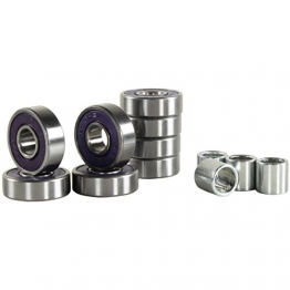 8x Stück Longboard Kugellager ABEC9 Bearings 608RS rot, lila grün oder weiß + 4 Spacer, Farbe:lila -